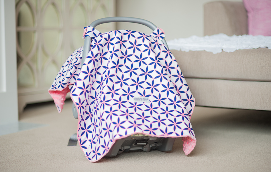 The Kendra Adds A Touch Of Fun To Your Baby Girls Car Seat Coral And Navy Flowers Create An Eye Catching Design Minky Dots Interior